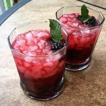 A little pre-dinner cocktail on the porch: blackberry whiskey smash with fresh mint from the garden!